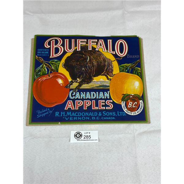 "1950's Buffalo Apples Paper Label 10.5"" x 9"""