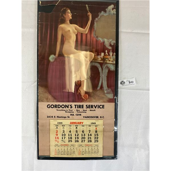 Vintage Calendar 1949 Gordon's Tire Service Vancouver BC Risque Photo