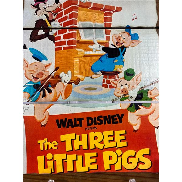 12 x 15 Walt Disney Big Bad Wolf Three Little Pigs wall art on wood