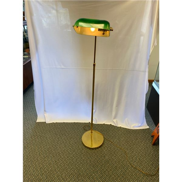 "Nice Vintage Bankers Lamp Floor Model 50"" tall adjustable height"