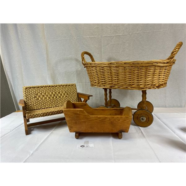 Nice Wicker Doll Basket with wicker couch and wooden cradle