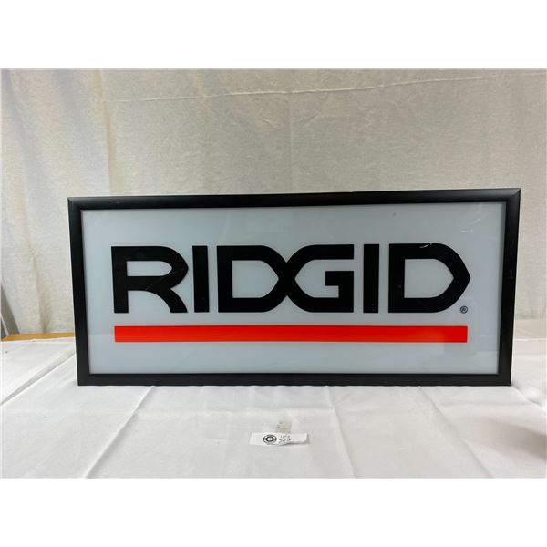 Nice 28 x 12 1/2 Light up Ridgid sign
