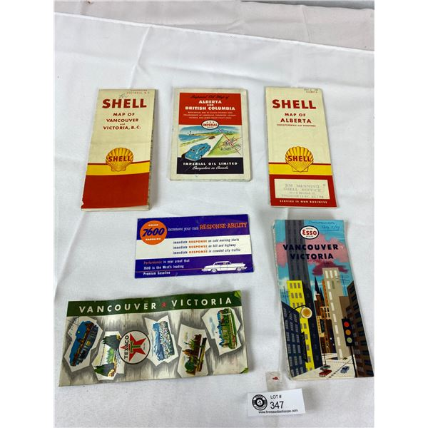 Vintage Lot of Road Maps Shell, Texaco, Etc