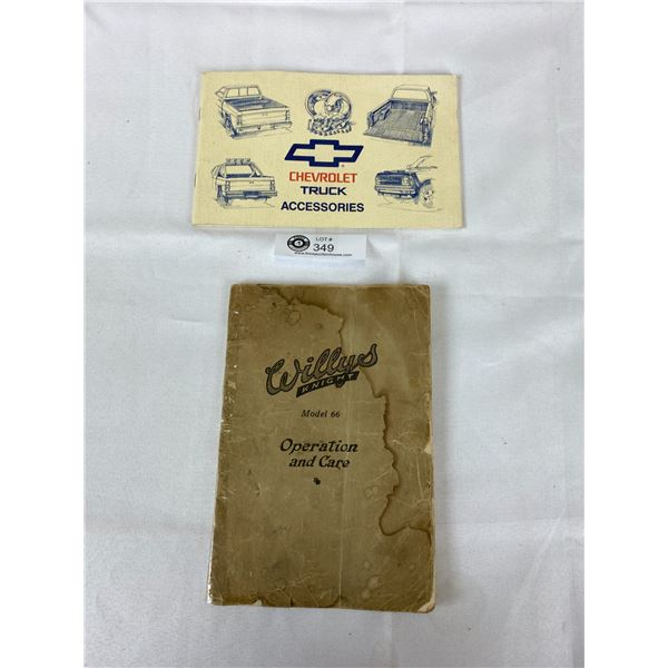 Vintage Willys Knight Model 66 Operation Guide plus Chevrolet Guide