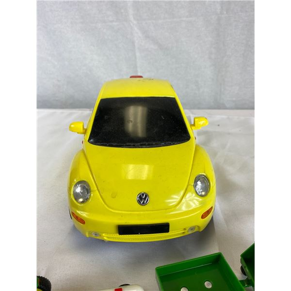Volkswagen Bug, Small gas pump decanter and diecast john deer tractors etc