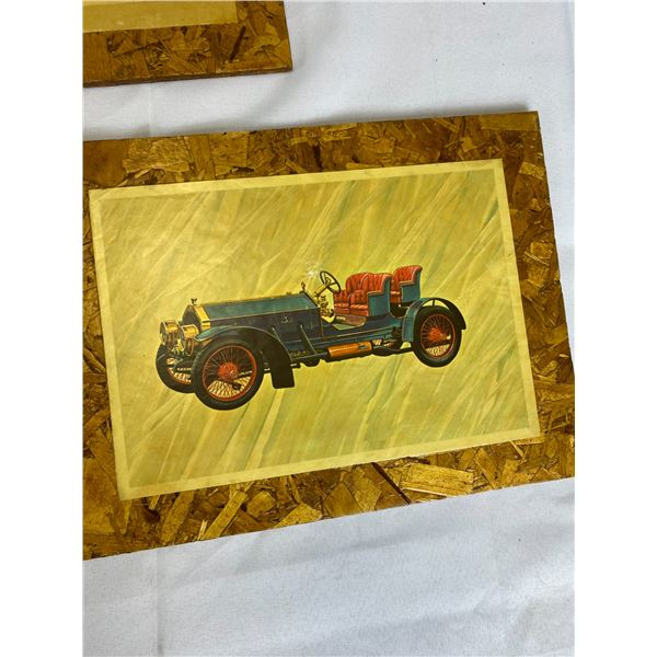 Nice Lot of 5 Antique Car Pictures on Wood