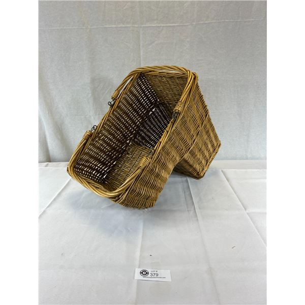 Nice Vintage Wicker Basket Car seat notched Basket