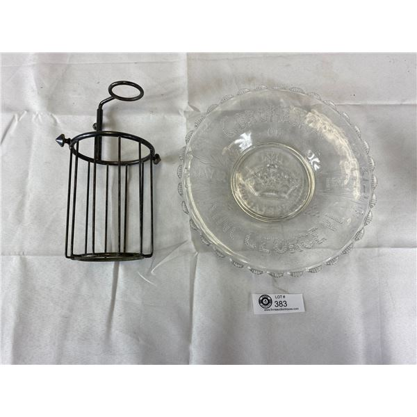 Vintage 1937 King George Coranation Plate with Wire Rack