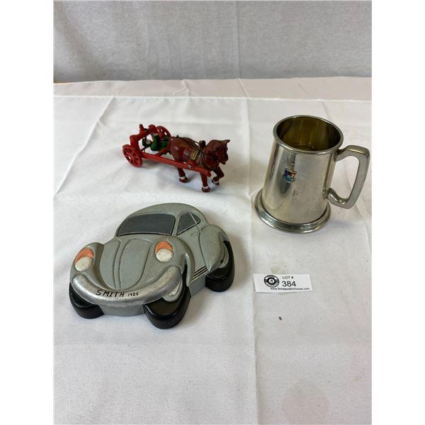 Vintage Tankard + Cast Iron Horse and Rider + Volkswagen Wall PlaqueVintage Tankard + Cast Iron Hors