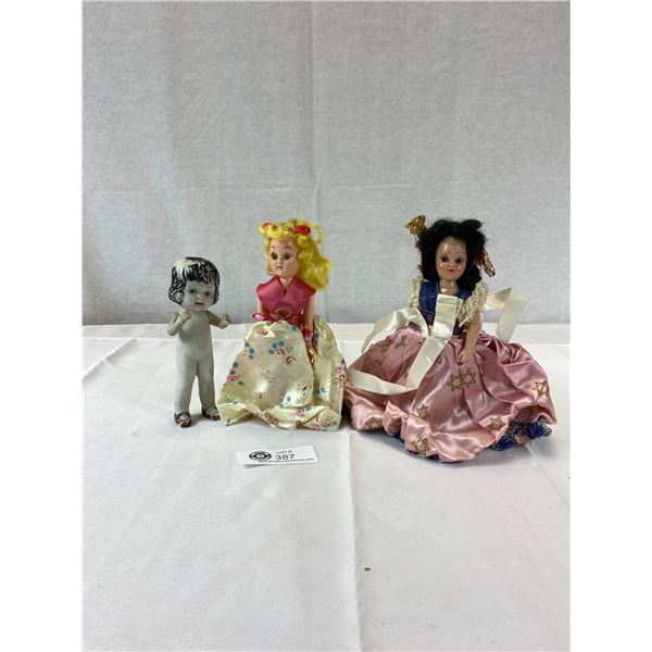 Lot of 3 Old Dolls