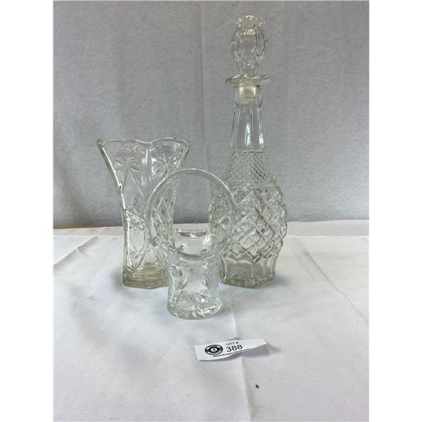 Nice Crystal and Glass Lot Decanters Vases Etc.