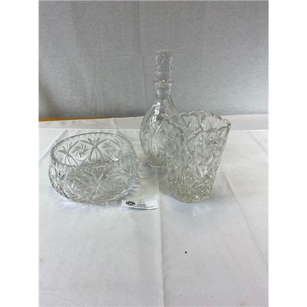 Nice Lot of Crystal and Glass Decanter Vase and Bowl