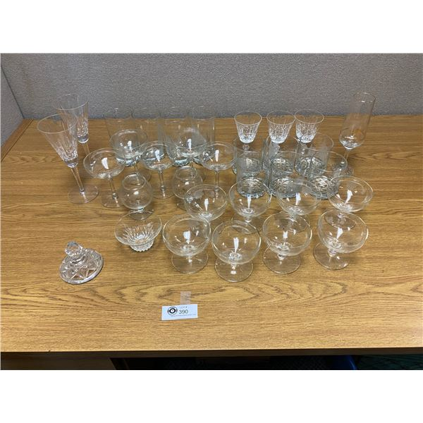 Large Lot of Crystal and Glass Glasses