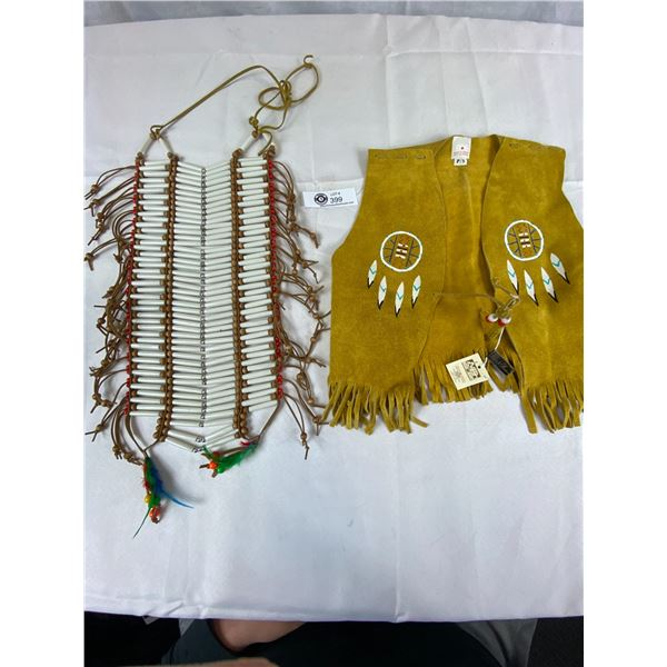 Native Leather Kids Vest and Beaded Chest Plate