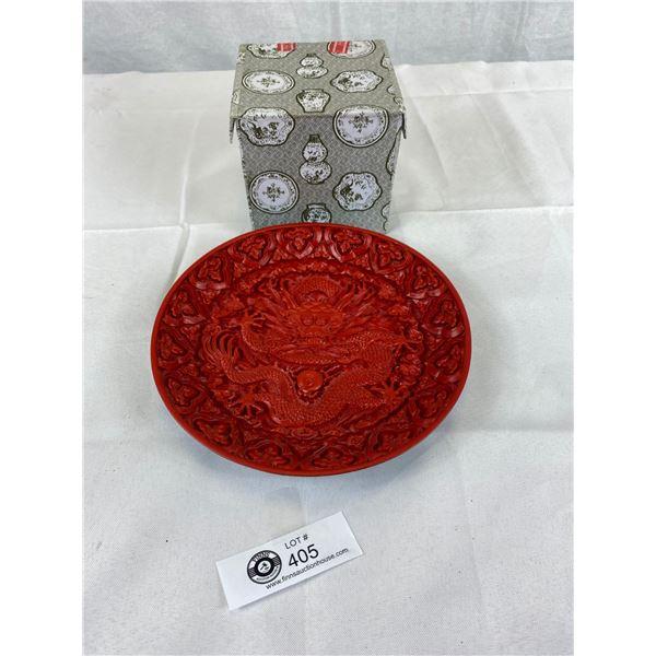 A Cinnebar Dragon Plate and Half dish