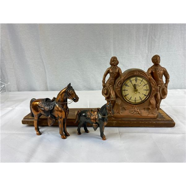 Vintage Cowboy and Cowgirl Clock with two Horses as found
