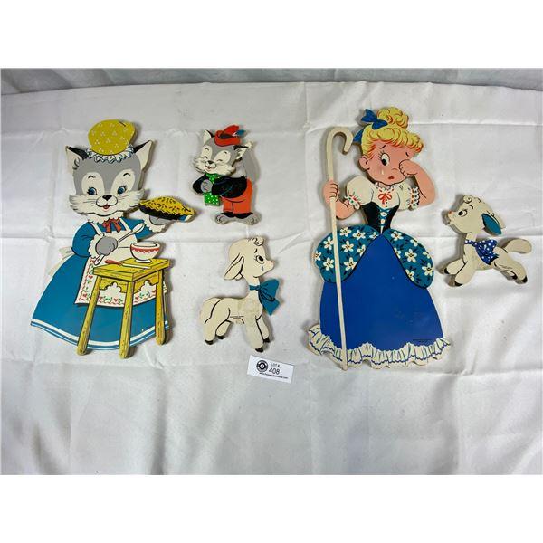 1950's Dolly Toy Company Wall Art 5 Pieces Bo Peep/Cats