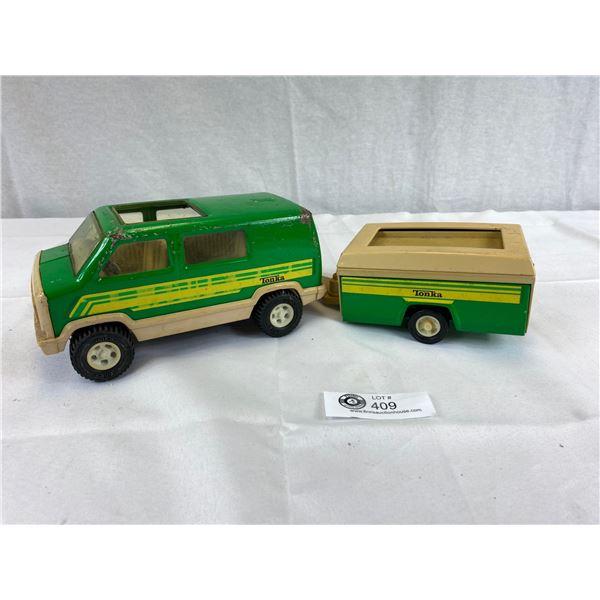 Vinatge Tonka Camper Van and Trailer
