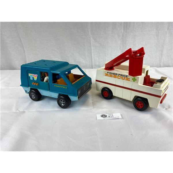 2 Vintage Fisher Price Vans