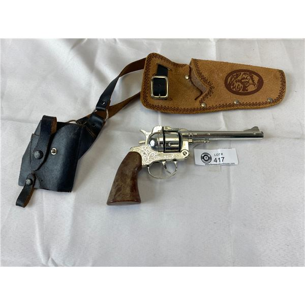Vintage Cap gun in leather holster with belt
