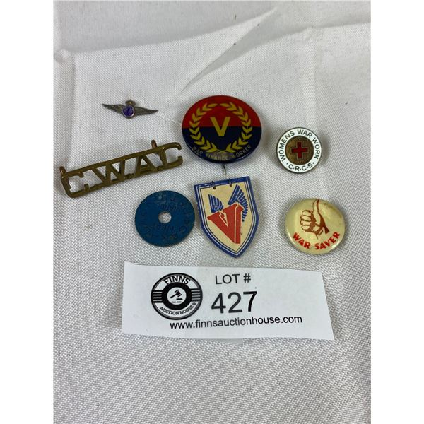 Lot of Vintage Military Buttons and Pins