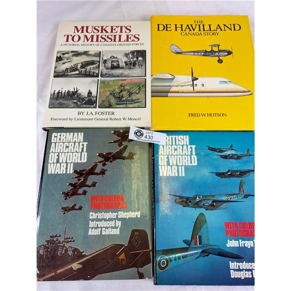 Nice lot of 4 Hardcover books on military aircraft and canadas ground forces