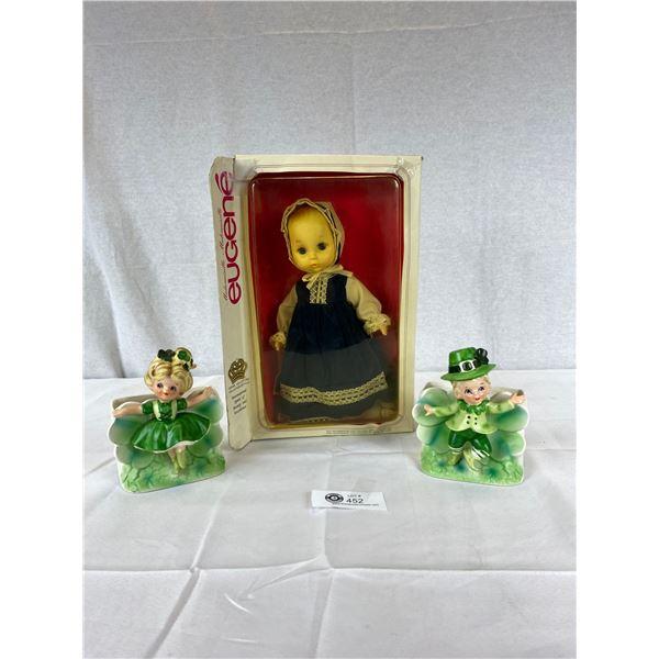 Very Nice Doll in original Package plus 2 Irish Flower Pots