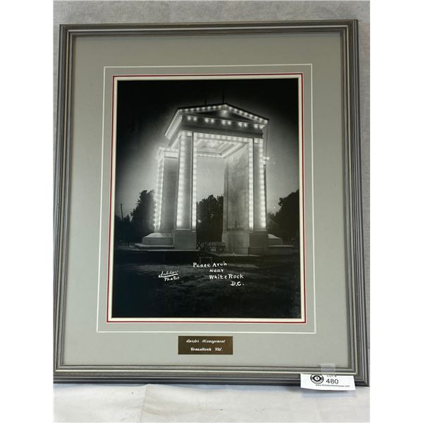 Nicely Framed 18 x 21 Photograph of Peace Arch Border Crossing