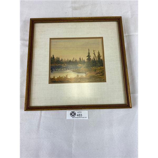 Nicely Framed Painting 13 x 13 signed by GJ Brackett