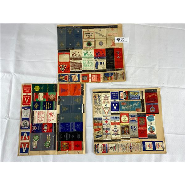 2 pages of canadian military matchbooks glued on paper