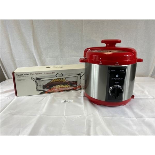 Kitchen Lot Wolfgang Puck Pressure Cooker and a Portable Fish Steamer