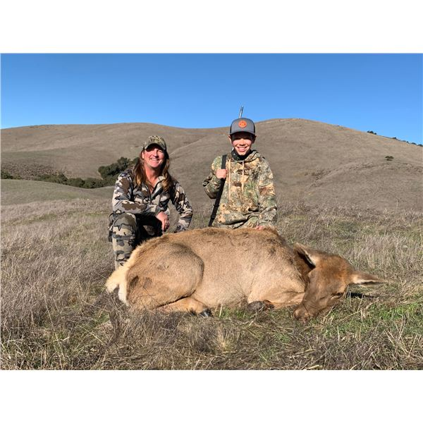 Jim Bardin Ranch 3 day guided tule elk cow hunt for youth hunter and observer.