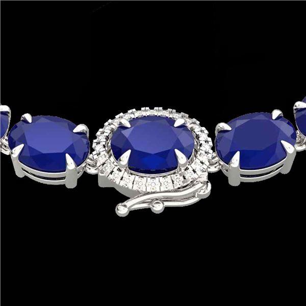 92 ctw Sapphire & VS/SI Diamond Micro Pave Necklace 14k White Gold - REF-436H4R