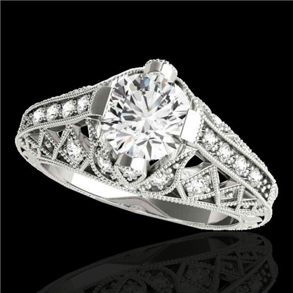 1.25 ctw Certified Diamond Solitaire Antique Ring 10k White Gold - REF-184M3G