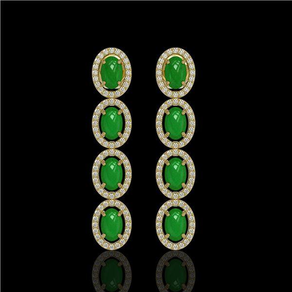 6.44 ctw Jade & Diamond Micro Pave Halo Earrings 10k Yellow Gold - REF-103W6H
