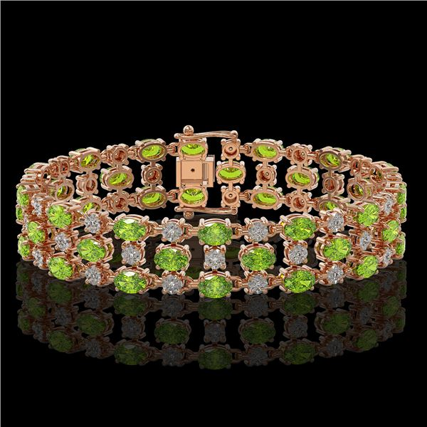 15.64 ctw Peridot & Diamond Row Bracelet 10K Rose Gold - REF-209X3A
