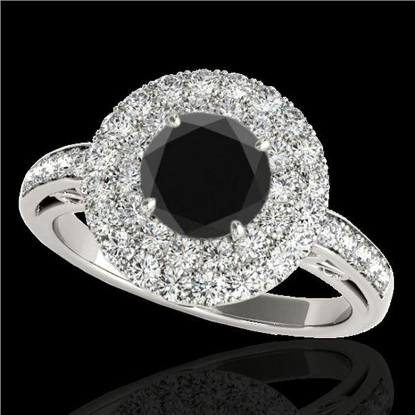 2.25 ctw Certified VS Black Diamond Solitaire Halo Ring 10k White Gold - REF-93H5R