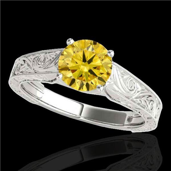 1.5 ctw SI/I Fancy Intense Yellow Diamond Antique Ring 10k White Gold - REF-286W4H
