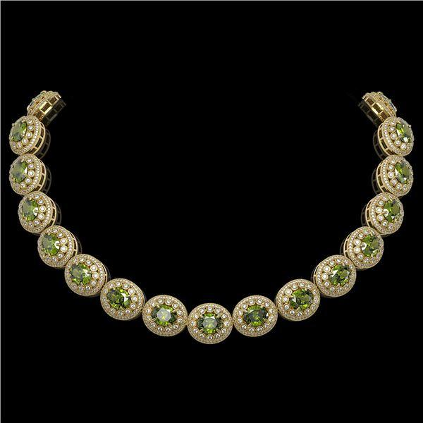 99.35 ctw Tourmaline & Diamond Victorian Necklace 14K Yellow Gold - REF-2947Y8X