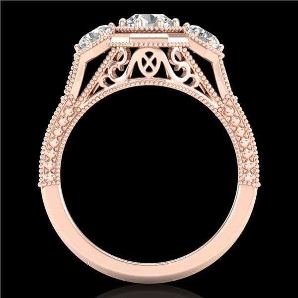 1.05 ctw VS/SI Diamond Solitaire Art Deco 3 Stone Ring 18k Rose Gold - REF-200H2R