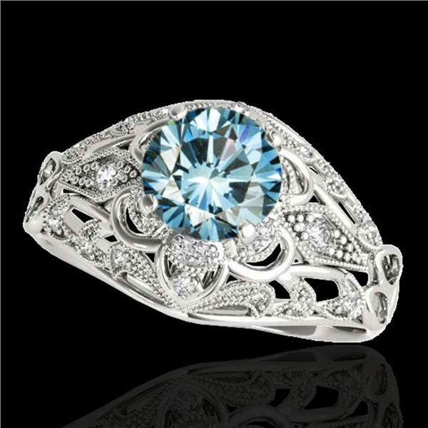 1.36 ctw SI Certified Blue Diamond Solitaire Antique Ring 10k White Gold - REF-129K5Y