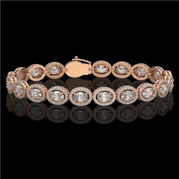 13.25 ctw Oval Cut Diamond Micro Pave Bracelet 18K Rose Gold - REF-1808R5K