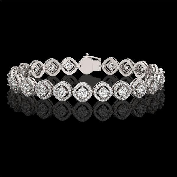 8.44 ctw Cushion Cut Diamond Micro Pave Bracelet 18K White Gold - REF-736G2W