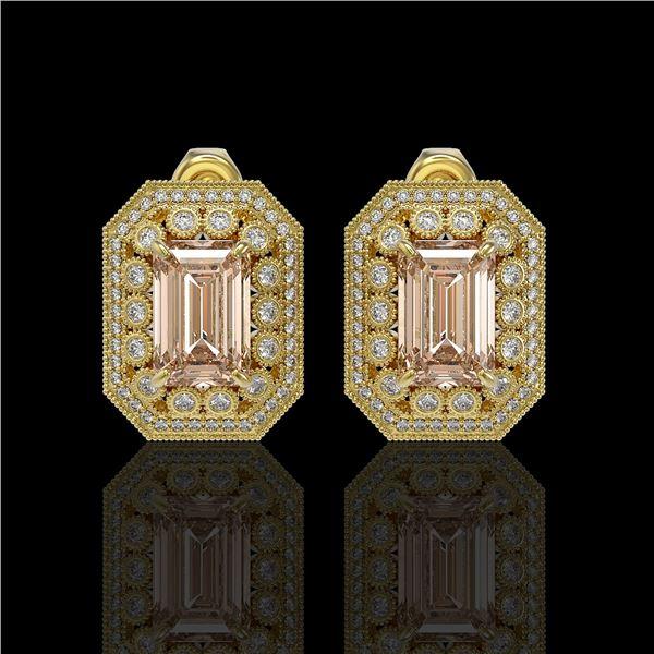 11.69 ctw Morganite & Diamond Victorian Earrings 14K Yellow Gold - REF-381N5F