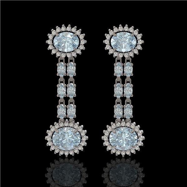 7.75 ctw Aquamarine & Diamond Earrings 14K White Gold - REF-227F3M