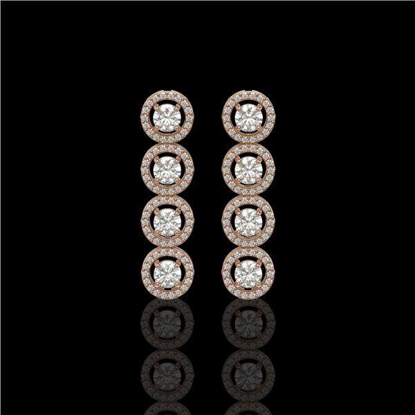 3.84 ctw Diamond Micro Pave Earrings 18K Rose Gold - REF-304H8R
