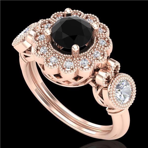 1.5 ctw Fancy Black Diamond Art Deco 3 Stone Ring 18k Rose Gold - REF-170A2N