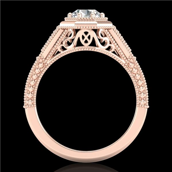 0.84 ctw VS/SI Diamond Solitaire Art Deco Ring 18k Rose Gold - REF-236G4W