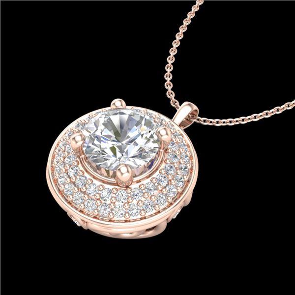 1.25 ctw VS/SI Diamond Solitaire Art Deco Necklace 18k Rose Gold - REF-272K8Y