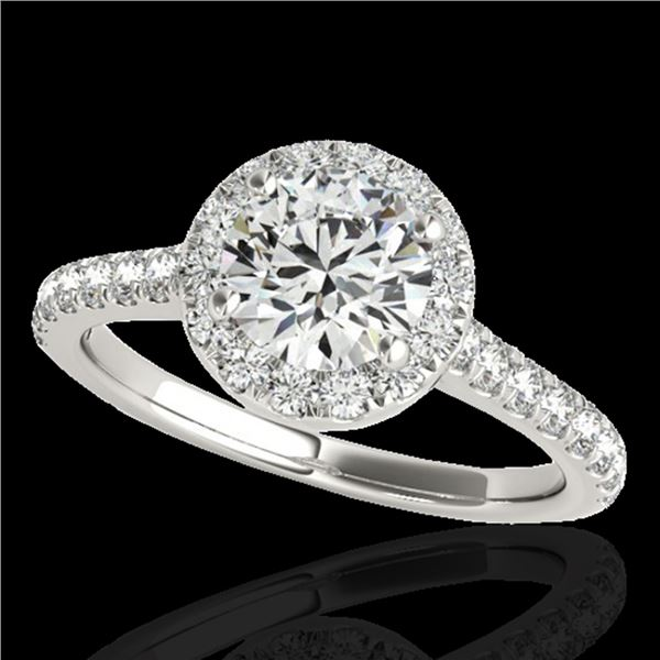 1.4 ctw Certified Diamond Solitaire Halo Ring 10k White Gold - REF-190X9A